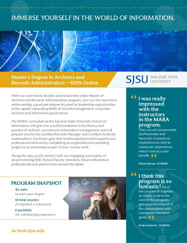 Master of Archives and Records Administration (MARA) Brochure