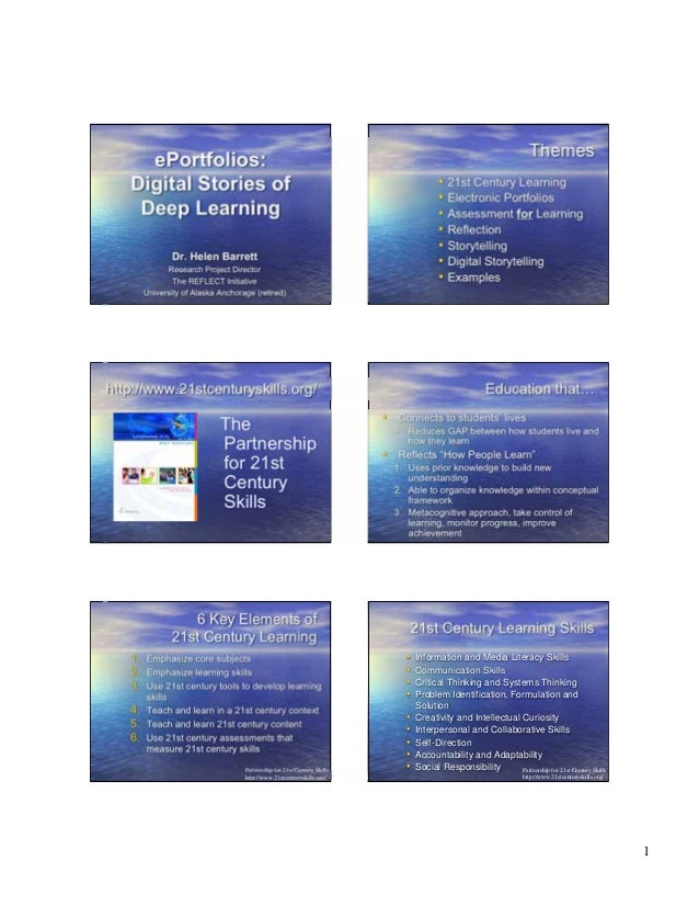 1 ePortfolios: Digital Stories of Deep Learning Dr. Helen Barrett Research Project Director The REFLECT Initiative Univers...