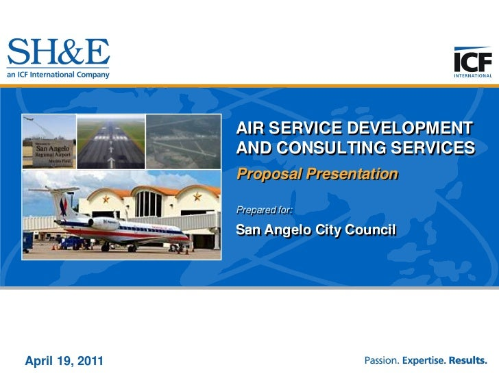 AIR SERVICE DEVELOPMENT AND CONSULTING SERVICES<br />Proposal Presentation<br />Prepared for:<br />San Angelo City Council...