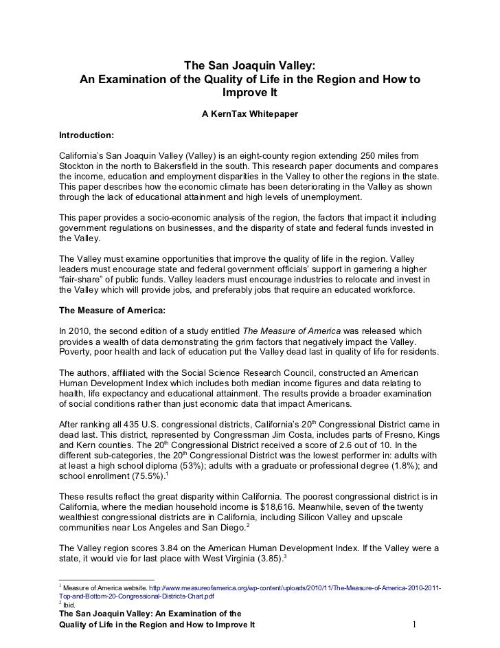 SJV Economic Study , a KernTax whitepaper 110710