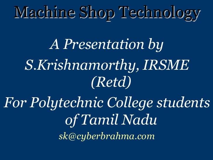 Gear Cutting Presentation for Polytechnic College Students of India