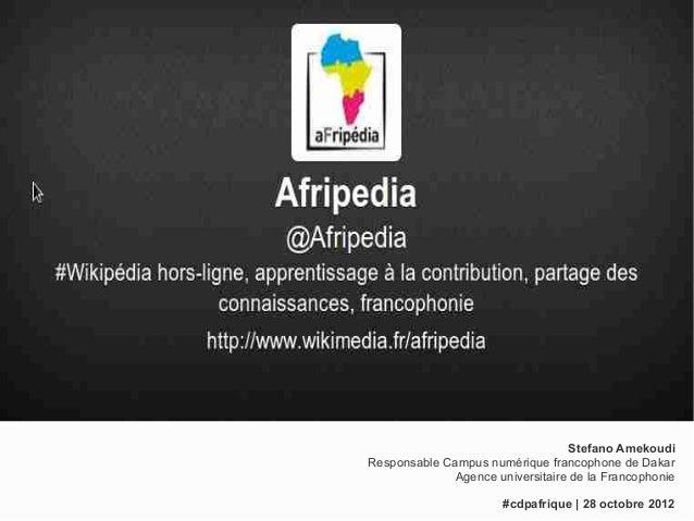 Stefano AmekoudiResponsable Campus numérique francophone de Dakar              Agence universitaire de la Francophonie    ...