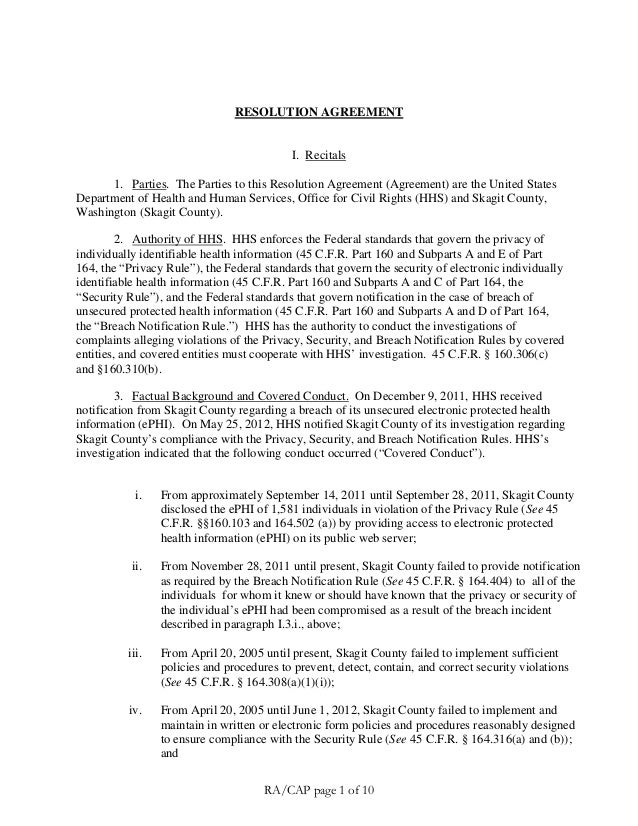RESOLUTION AGREEMENT  I. Recitals 1. Parties. The Parties to this Resolution Agreement (Agreement) are the United States D...