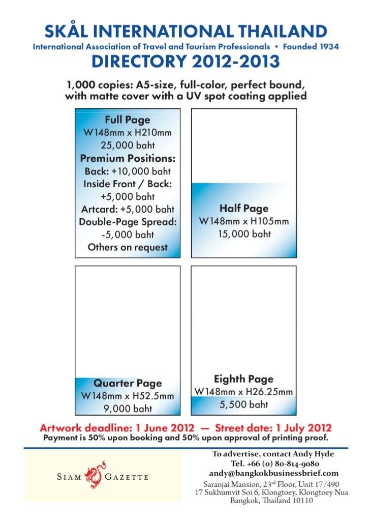 SKAL INTERNATIONAL THAILAND, 2012 - 2013 Directory Advertising Rate Card
