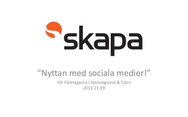 """§ """"Nyttan med sociala medier!"""" För Företagarna i Stenungsund & Tjörn 2013-11-29"""