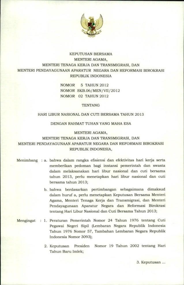 Skb 3 menteri tentang hari libur nasional dan cuti bersama 2013
