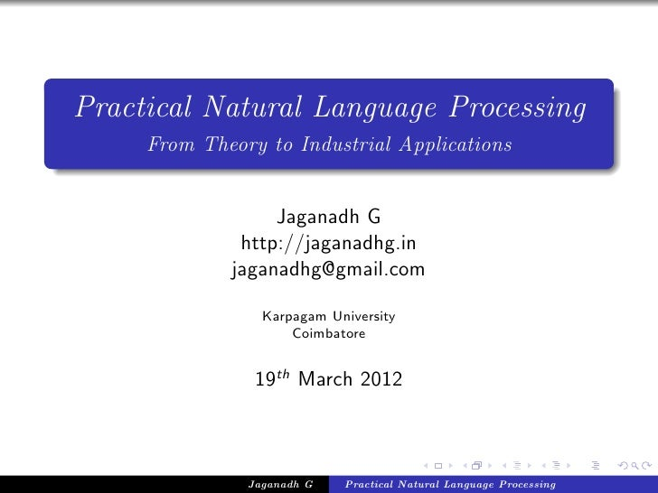 Practical Natural Language Processing     From Theory to Industrial Applications                  Jaganadh G              ...