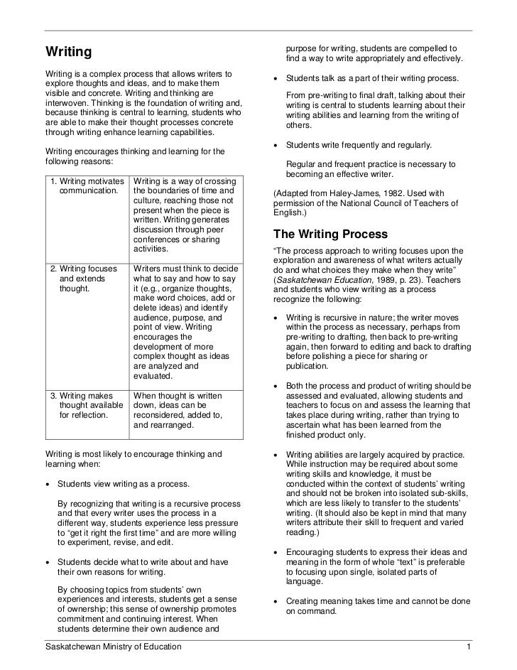 purpose for writing, students are compelled toWriting                                                       find a way to ...