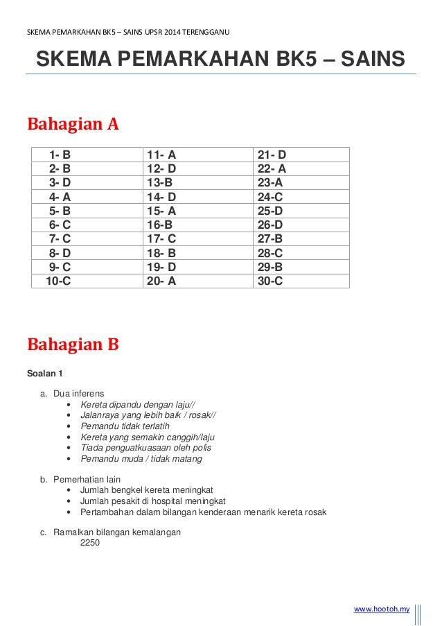 SKEMA PEMARKAHAN BK5 – SAINS UPSR 2014 TERENGGANU www.hootoh.my SKEMA PEMARKAHAN BK5 – SAINS Bahagian A 1- B 11- A 21- D 2...