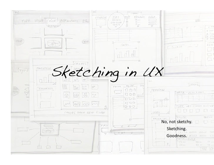 Sketching in UX!                  No,	   not	   sketchy.	                     Sketching.	                     Goodness.