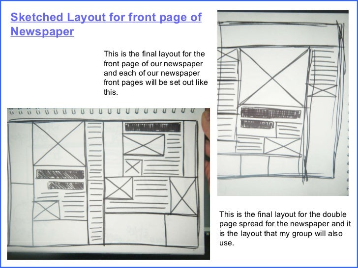 Sketched Layout for front page of Newspaper This is the final layout for the front page of our newspaper and each of our n...