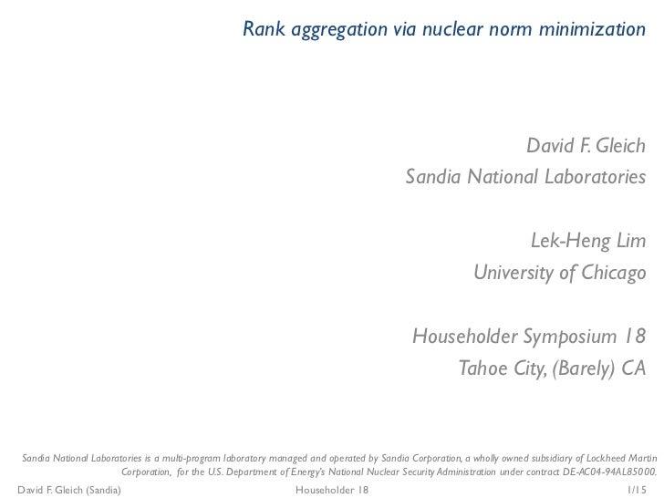 Rank aggregation via nuclear norm minimization                                                                            ...