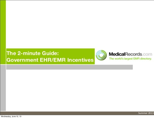 The 2-minute Guide: Government Electronic Medical Records (EMR)/EHR Incentives
