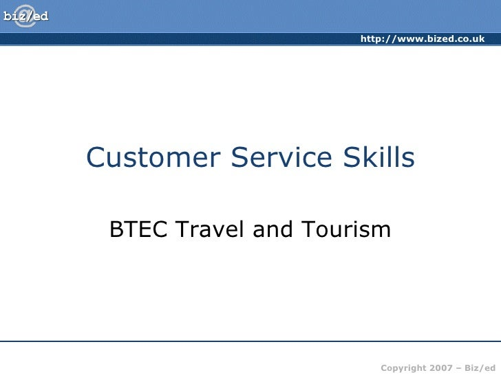Customer Service Skills BTEC Travel and Tourism