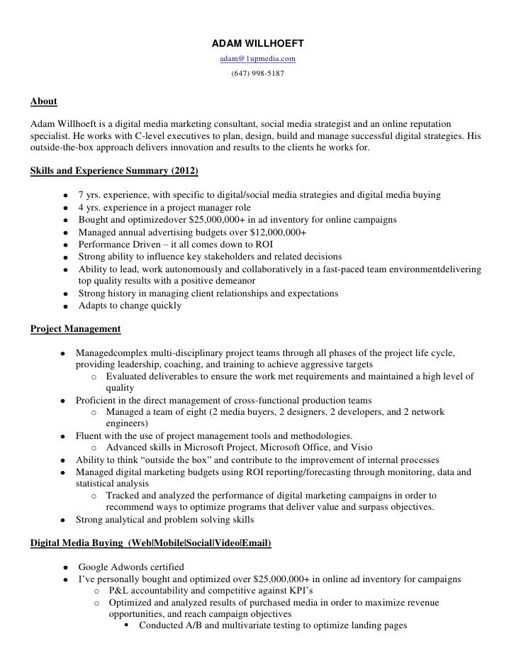 digital media resume adam willhoeft digital media - Social Media Manager Resume