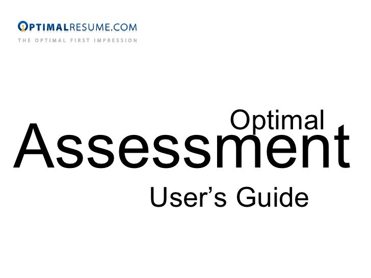 Optimal Assessment User's Guide