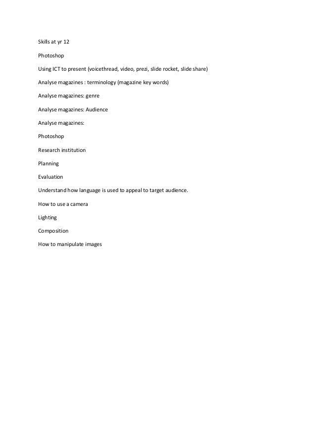 Skills at yr 12 Photoshop Using ICT to present (voicethread, video, prezi, slide rocket, slide share) Analyse magazines : ...
