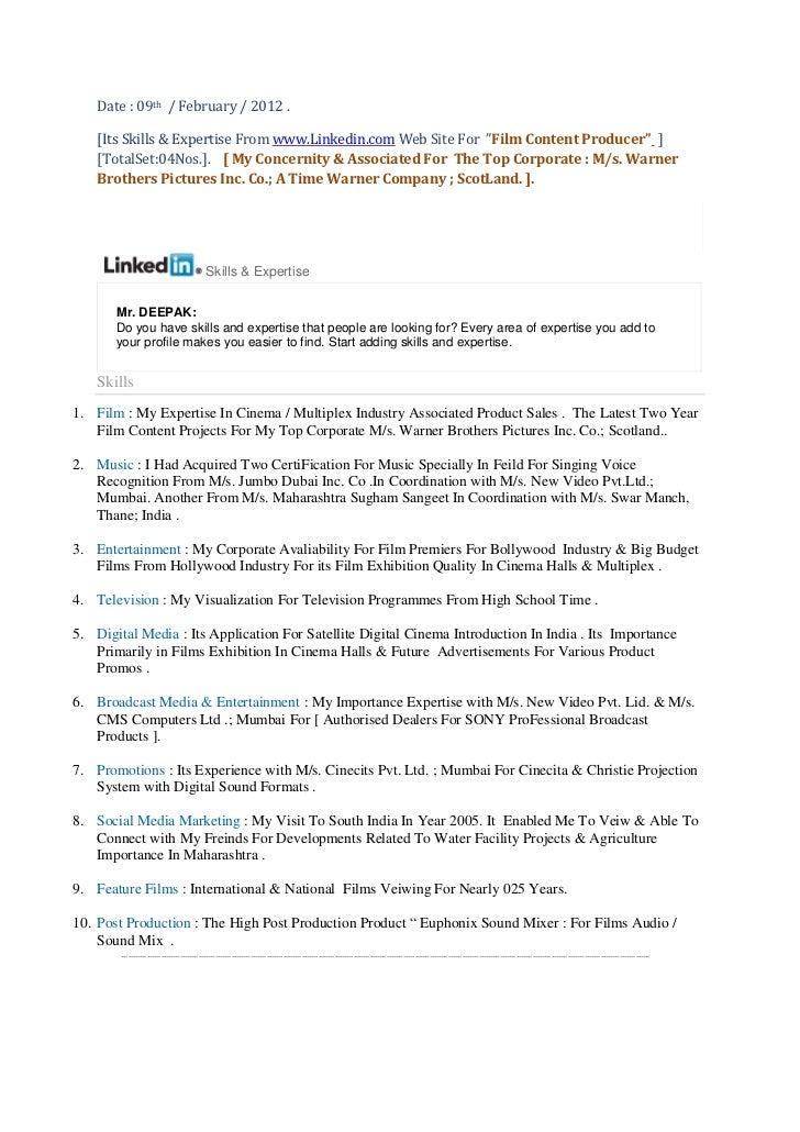 Skills & expertise  from me for www linkedin.com