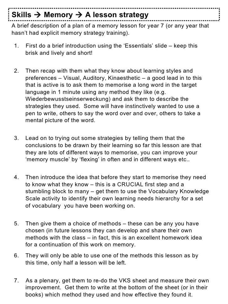 Skills    Memory    A lesson strategy A brief description of a plan of a memory lesson for year 7 (or any year that hasn...