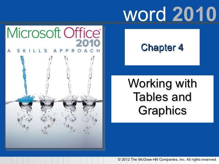 Chapter 4 Working with Tables and Graphics