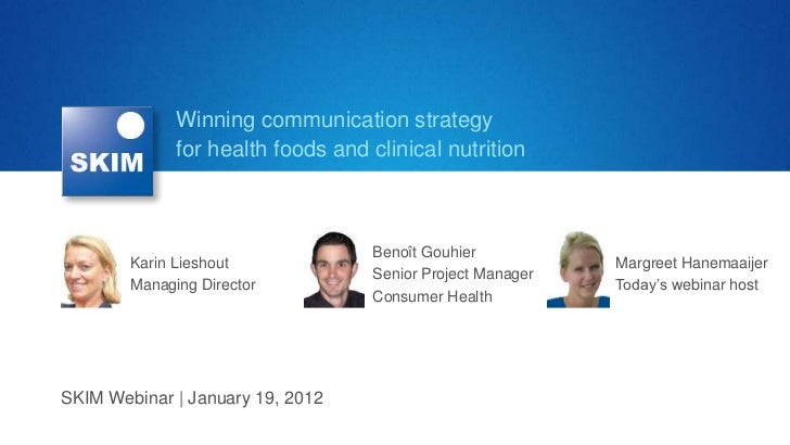 "SKIM Webinar ""Winning communication strategy for health foods and clinical nutrition"""