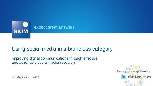 SKIMspiration 2012: Social Media Research | butter-margarine case study