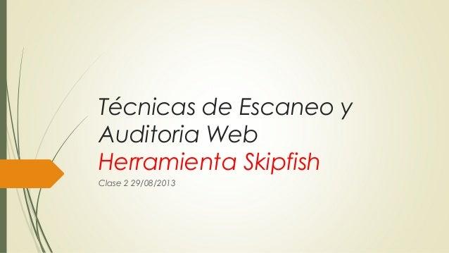 Técnicas de Escaneo y Auditoria Web Herramienta Skipfish Clase 2 29/08/2013