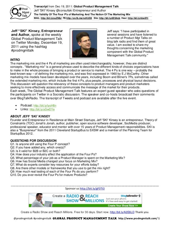 Transcript from Dec 19, 2011: Global Product Management Talk                 Jeff SKI Kinsey @consultski Entrepreneur and ...