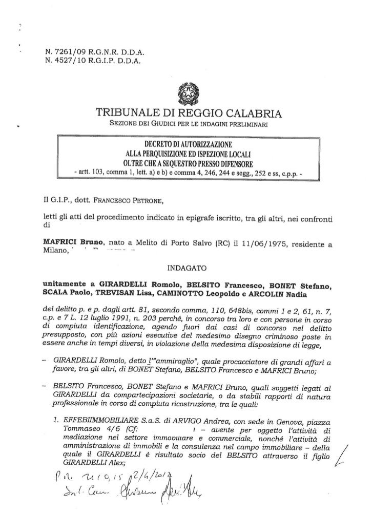 Caso Belsito, l'ordinanza del Tribunale di Reggio Calabria