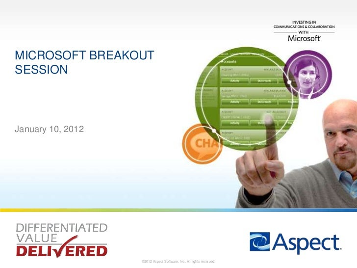 MICROSOFT BREAKOUTSESSIONJanuary 10, 2012                   ©2012 Aspect Software, Inc. All rights reserved.