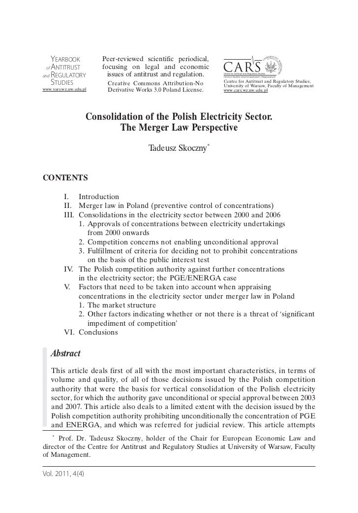 Consolidation of the Polish Electricity Sector. The Merger Law Perspective