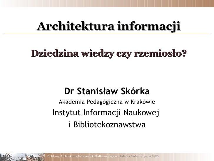 Skorka Stanislaw, AI Dziedzina czy rzemiosło