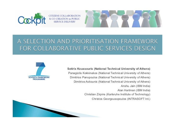 A SELECTION AND PRIORITISATION FRAMEWORK FOR COLLABORATIVE PUBLIC SERVICES DESIGN