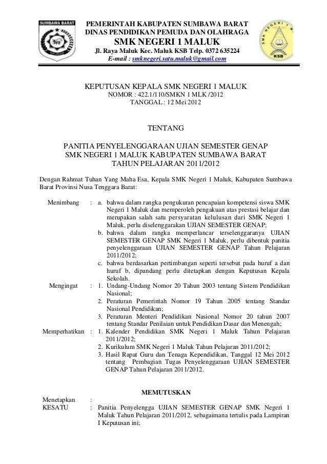 PEMERINTAH KABUPATEN SUMBAWA BARAT DINAS PENDIDIKAN PEMUDA DAN OLAHRAGA  SMK NEGERI 1 MALUK Jl. Raya Maluk Kec. Maluk KSB ...