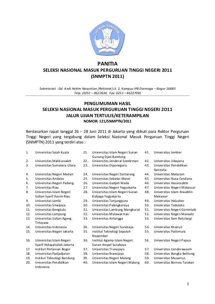PANITIA           SELEKSI NASIONAL MASUK PERGURUAN TINGGI NEGERI 2011                              (SNMPTN 2011)         S...