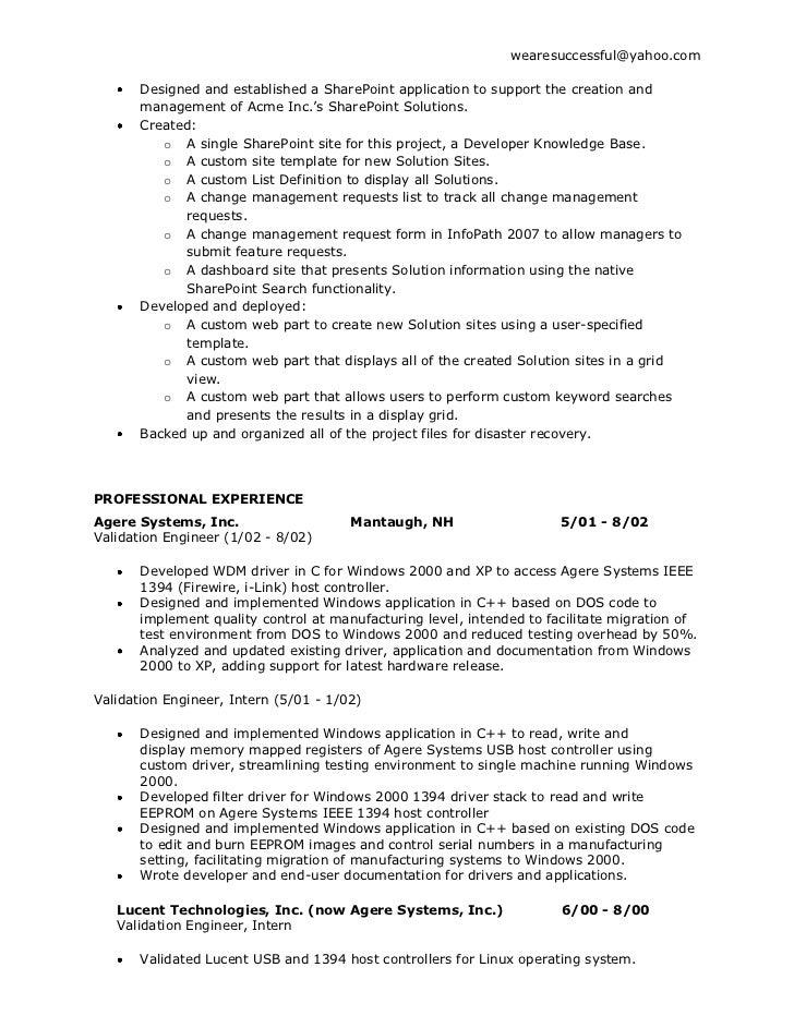 sample resume sharepoint administrator resume exles near ...