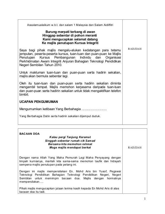 Teks Ucapan Pengacara Majlis Penutup Kursus Dev Gaol