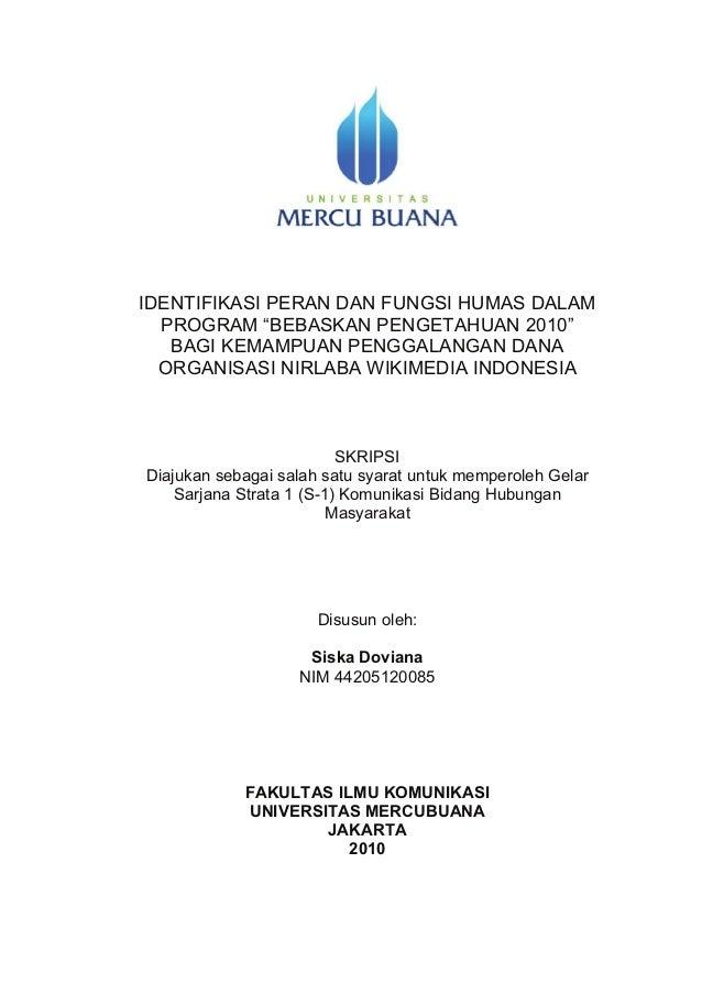 Identifikasi Peran dan Fungsi Humas dalam Program Bebaskan Pengetahuan 2010 bagi Kemampuan Penggalangan Dana Organisasi Nirlaba Wikimedia Indonesia