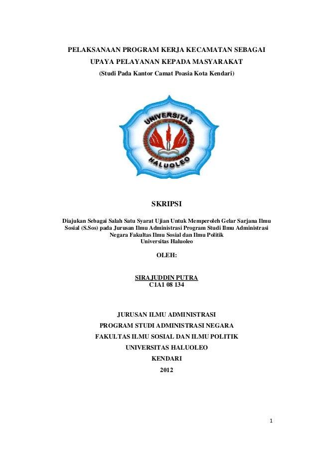Skripsi  pelaksanaan program kerja kecamatan sebagai upaya pelayanan kepada masyarakat