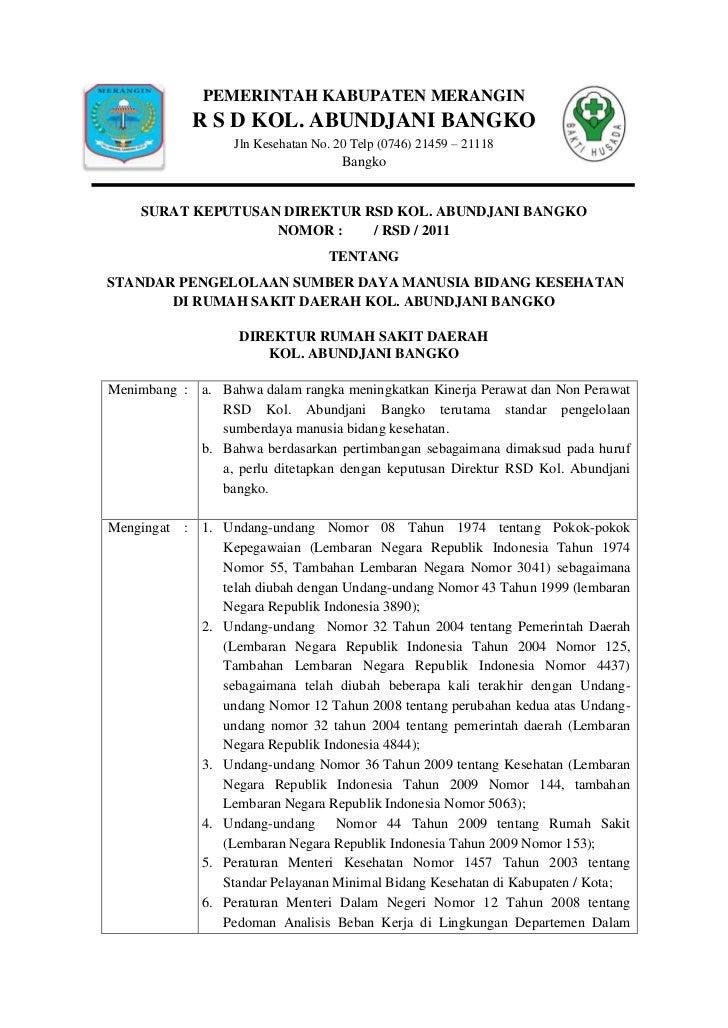 PEMERINTAH KABUPATEN MERANGIN             R S D KOL. ABUNDJANI BANGKO                   Jln Kesehatan No. 20 Telp (0746) 2...