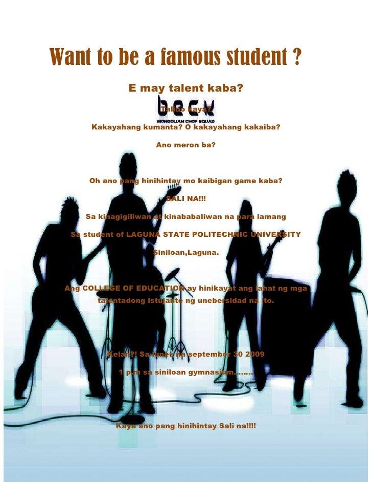 -838200-742950 Want to be a famous student ?<br />E may talent kaba?<br />Talino kaya?<br />Kakayahang kumanta? O kakayaha...