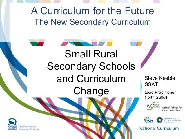 A Curriculum for the Future The New Secondary Curriculum Steve Keeble SSAT Lead Practitioner North Suffolk Small Rural Sec...