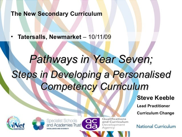 The New Secondary Curriculum • Tatersalls, Newmarket – 10/11/09 Pathways in Year Seven;Pathways in Year Seven; Steps in De...