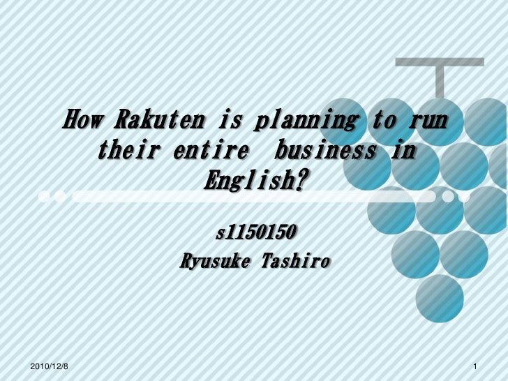 How Rakuten is planning to run         their entire business in                  English?                   s1150150      ...