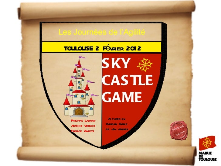 INSPECTER ADAPTER SKY CASTLE GAME TOULOUSE 2 Février 2012 A partir du Kanban Game de Jon Jagger Philippe Launay Antoine Ve...