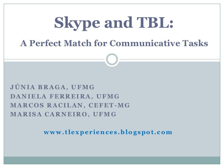 Skype and TBL:  A Perfect Match for Communicative TasksJÚNIA BRAGA, UFMGDANIELA FERREIRA, UFMGMARCOS RACILAN, CEFET-MGMARI...