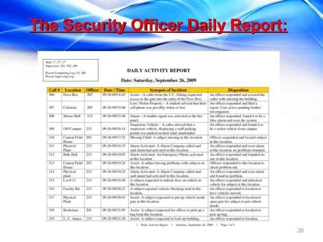 Daily Report Format For Security Guards Calendar June