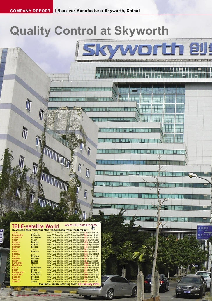 COMPANY REPORT                              Receiver Manufacturer Skyworth, China     Quality Control at Skyworth      TEL...