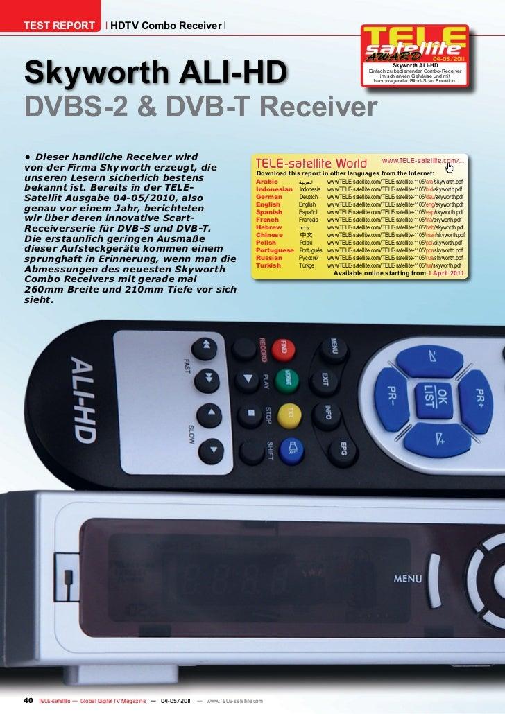 TEST REPORT                   HDTV Combo ReceiverSkyworth ALI-HD                                                          ...