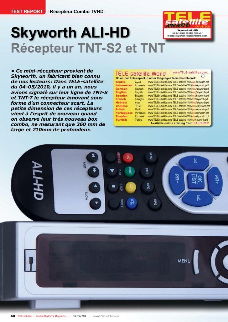 TEST REPORT                   Récepteur Combo TVHDSkyworth ALI-HD                                                         ...